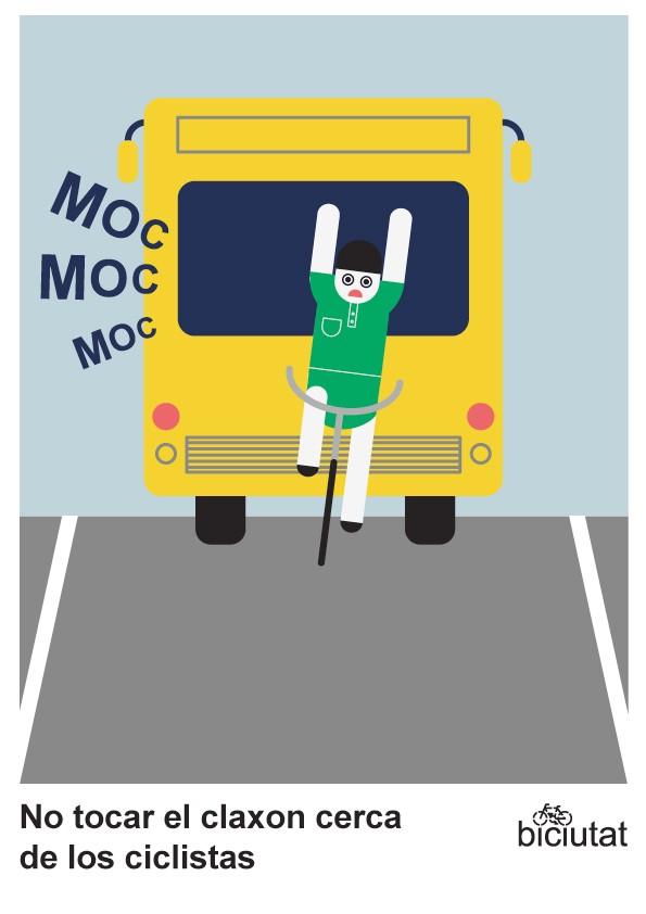 No tocar el claxon cerca de los ciclistas