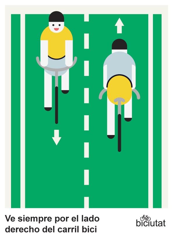 Ve siempre por el lado derecho del carril bici