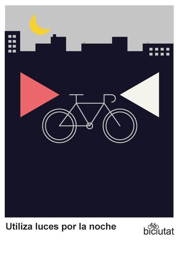 Utiliza las luces de la bici por la noche